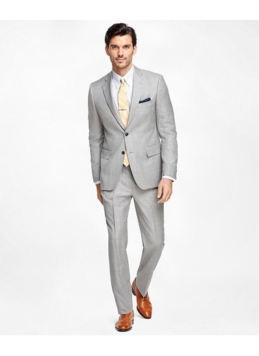 Brooks Brothers 100021350 Iki Düğmeli Regent Kesim Erkek Takım Elbise Gri